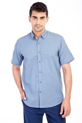 Erkek Giyim - Petrol XL Beden Kısa Kol Desenli Gömlek