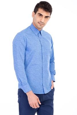 Erkek Giyim - Mavi M Beden Uzun Kol Desenli Slim Fit Gömlek