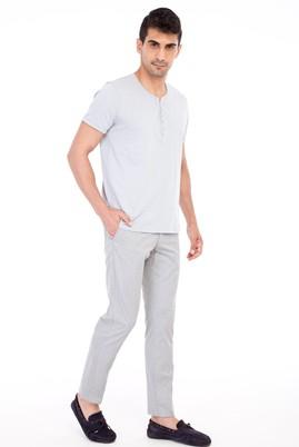 Erkek Giyim - Orta füme 48 Beden Slim Fit Desenli Spor Pantolon