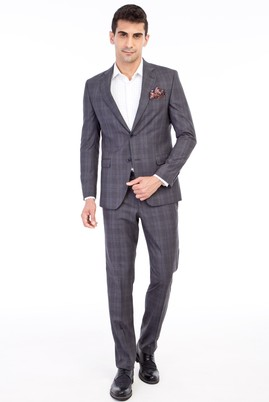 Erkek Giyim - Orta füme 52 Beden Ekose Takım Elbise
