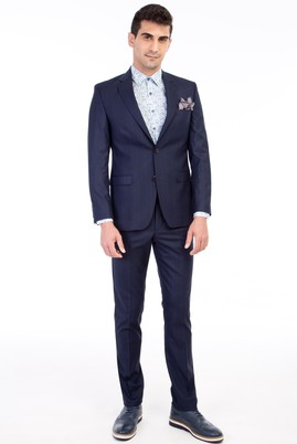 Erkek Giyim - Lacivert 52 Beden Slim Fit Ekose Takım Elbise