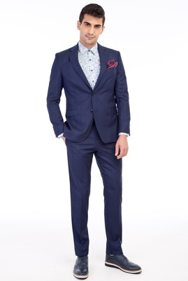 Erkek Giyim - Mavi 50 Beden Ekose Takım Elbise
