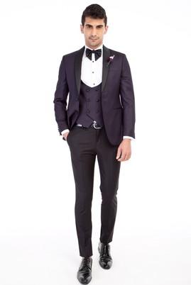 Erkek Giyim - Mor 46 Beden Slim Fit Şal Yaka Smokin / Damatlık