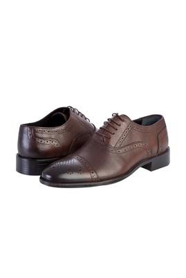 Erkek Giyim - Kahve 40 Beden Bağcıklı Klasik Deri Ayakkabı