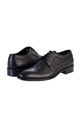 Erkek Giyim - Siyah 40 Beden Bağcıklı Klasik Deri Ayakkabı