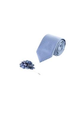 Erkek Giyim - Açık Mavi 70 Beden Kravat Yaka İğnesi Set