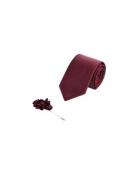 Erkek Giyim - Kırmızı 70 Beden Kravat Yaka İğnesi Set