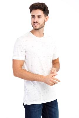 Erkek Giyim - Beyaz L Beden Bisiklet Yaka Regular Fit Desenli Tişört