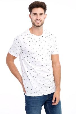 Erkek Giyim - Beyaz M Beden Bisiklet Yaka Desenli Slim Fit Tişört
