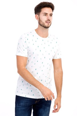 Erkek Giyim - Beyaz S Beden Bisiklet Yaka Desenli Slim Fit Tişört