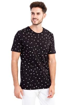 Erkek Giyim - Siyah XL Beden Bisiklet Yaka Desenli Slim Fit Tişört