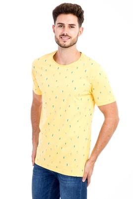 Erkek Giyim - Sarı S Beden Bisiklet Yaka Desenli Slim Fit Tişört