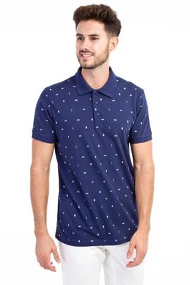 Erkek Giyim - Lacivert L Beden Polo Yaka Desenli Slim Fit Tişört