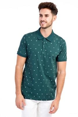 Erkek Giyim - KOYU YESİL L Beden Polo Yaka Desenli Slim Fit Tişört