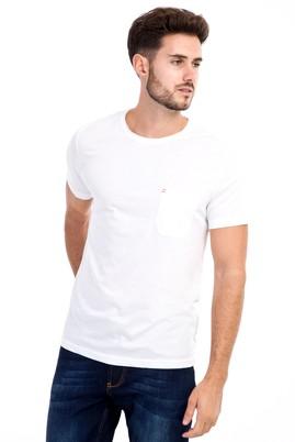 Erkek Giyim - Beyaz M Beden Bisiklet Yaka Nakışlı Slim Fit Tişört