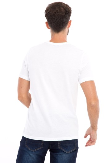 Erkek Giyim - Bisiklet Yaka Nakışlı Slim Fit Tişört