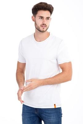 Erkek Giyim - Beyaz XL Beden Bisiklet Yaka Slim Fit Tişört