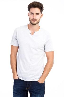 Erkek Giyim - Orta füme L Beden V Yaka Slim Fit Tişört