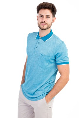 Erkek Giyim - Açık Mavi L Beden Polo Yaka Regular Fit Tişört