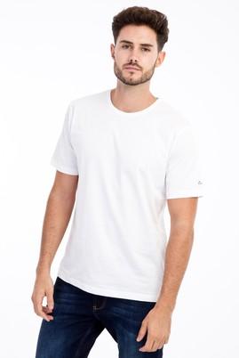 Erkek Giyim - Beyaz XL Beden Bisiklet Yaka Nakışlı Regular Fit Tişört