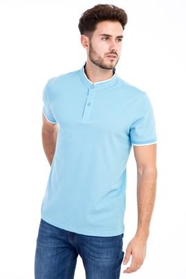 Erkek Giyim - Açık Mavi XXL Beden Bisiklet Yaka Slim Fit Tişört