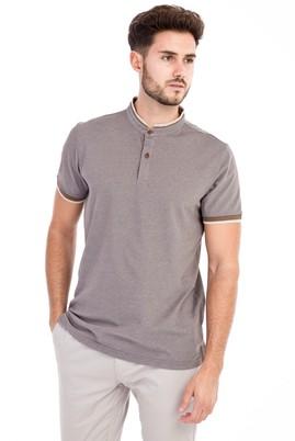 Erkek Giyim - VİZON 3X Beden Bisiklet Yaka Slim Fit Tişört