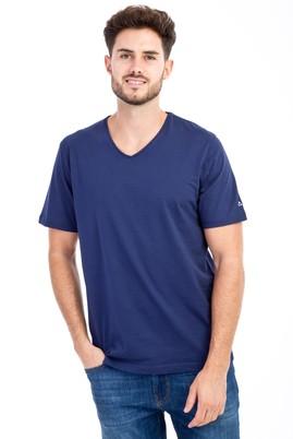 Erkek Giyim - Lacivert L Beden V Yaka Nakışlı Regular Fit Tişört