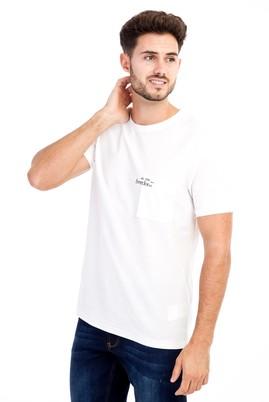 Erkek Giyim - Krem 3X Beden Bisiklet Yaka Baskılı Slim Fit Tişört