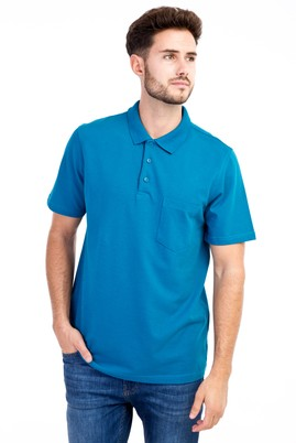 Erkek Giyim - Petrol S Beden Polo Yaka Klasik Tişört