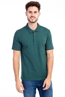 Erkek Giyim - KOYU YESİL XXL Beden Polo Yaka Klasik Tişört