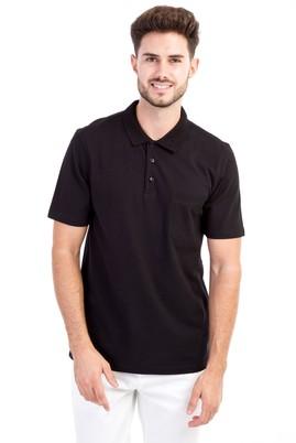 Erkek Giyim - Siyah L Beden Polo Yaka Klasik Tişört