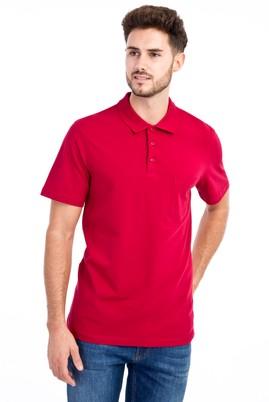 Erkek Giyim - Kırmızı M Beden Polo Yaka Klasik Tişört