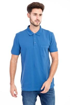 Erkek Giyim - Mavi XL Beden Polo Yaka Regular Fit Tişört