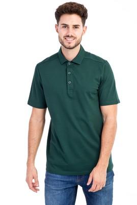Erkek Giyim - KOYU YESİL M Beden Polo Yaka Regular Fit Tişört