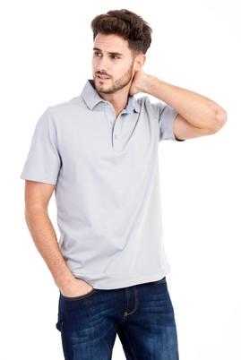 Erkek Giyim - Açık Gri M Beden Polo Yaka Regular Fit Tişört