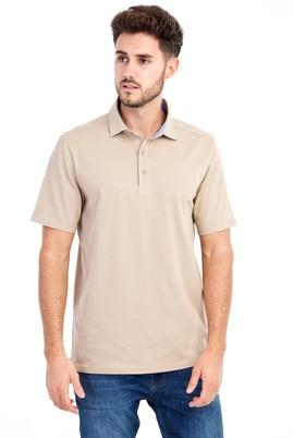 Erkek Giyim - Bej M Beden Polo Yaka Regular Fit Tişört
