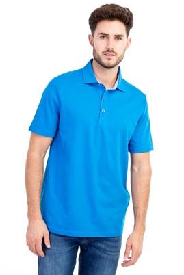 Erkek Giyim - Turkuaz M Beden Polo Yaka Regular Fit Tişört