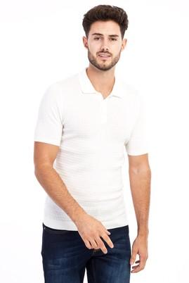 Erkek Giyim - Krem S Beden Polo Yaka Örme Slim Fit Tişört