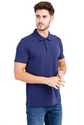 Erkek Giyim - Lacivert 3X Beden Polo Yaka Slim Fit Tişört