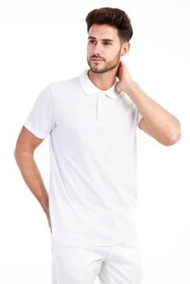 Erkek Giyim - Beyaz S Beden Polo Yaka Desenli Slim Fit Tişört