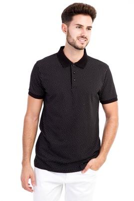 Erkek Giyim - Siyah XL Beden Polo Yaka Desenli Slim Fit Tişört