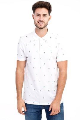 Erkek Giyim - Beyaz M Beden Polo Yaka Desenli Slim Fit Tişört