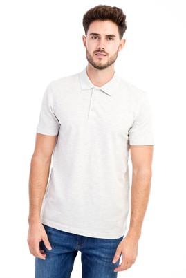 Erkek Giyim - Orta füme 3X Beden Polo Yaka Slim Fit Tişört