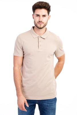 Erkek Giyim - Bej L Beden Polo Yaka Slim Fit Tişört