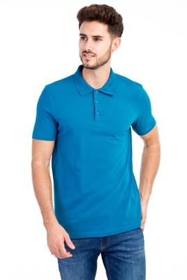 Erkek Giyim - Petrol 3X Beden Polo Yaka Slim Fit Tişört