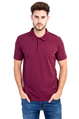 Erkek Giyim - Bordo 3X Beden Polo Yaka Slim Fit Tişört