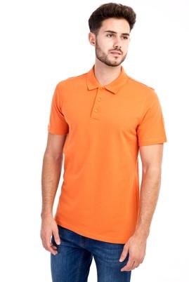 Erkek Giyim - Turuncu L Beden Polo Yaka Slim Fit Tişört