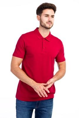 Erkek Giyim - Kırmızı XXL Beden Polo Yaka Slim Fit Tişört