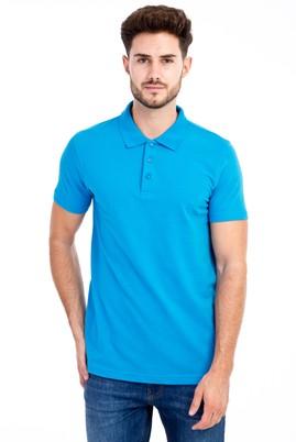 Erkek Giyim - Turkuaz 3X Beden Polo Yaka Slim Fit Tişört