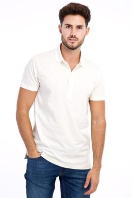 Erkek Giyim - Krem M Beden Polo Yaka Slim Fit Tişört